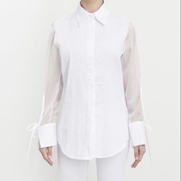 camisa mangas transparentes